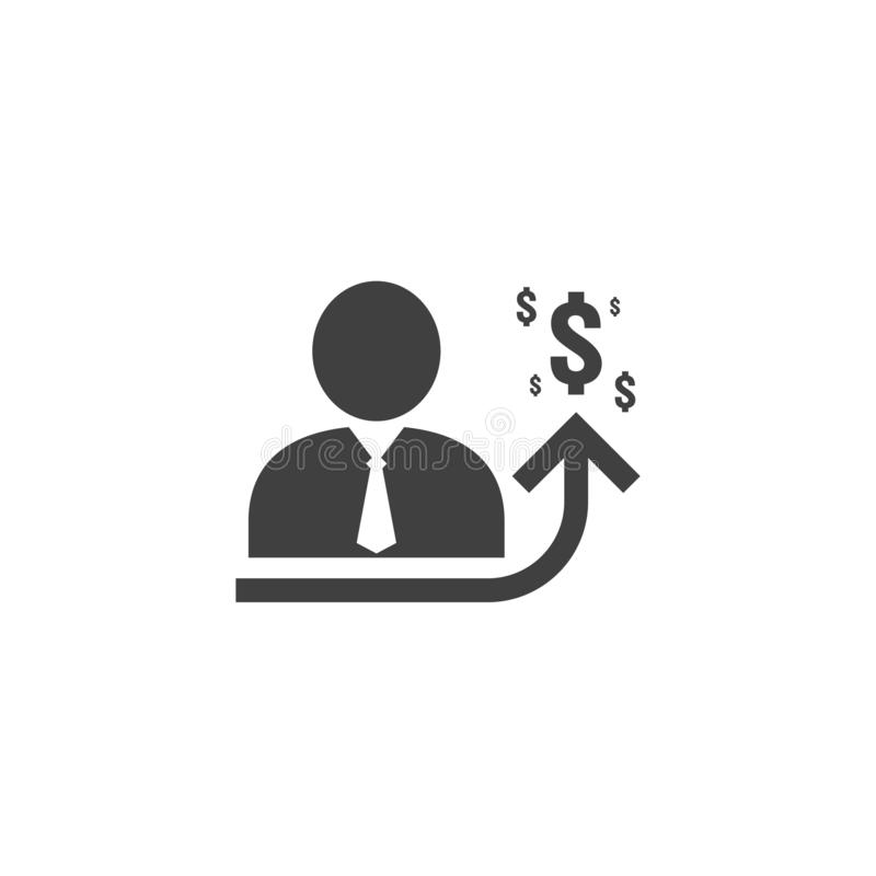 employee salary increase icon on white background with people, arrow up graphic and dollar money symbol. raise revenue business stock illustration