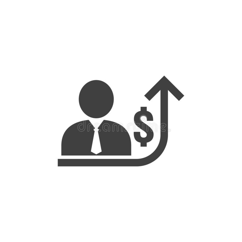 employee salary increase icon on white background with people, arrow up graphic and dollar money symbol. raise revenue business vector illustration