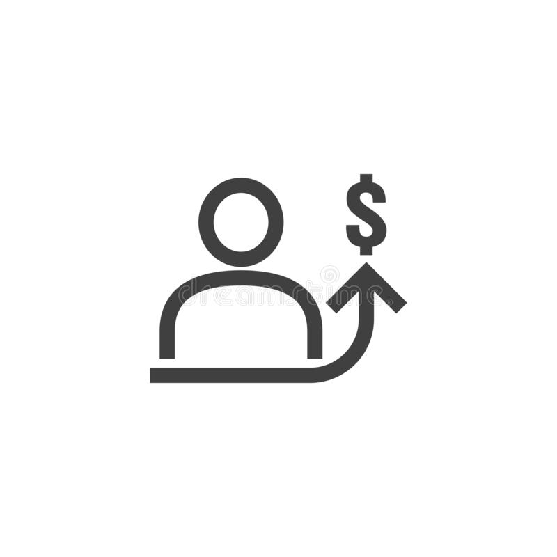Employee salary increase icon on white background with people, arrow up graphic and dollar money symbol. raise revenue business. Cost concept. investment growth stock illustration