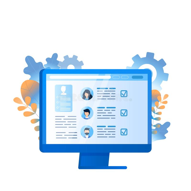 Employee Search Business Management on Computer. Human Resource Select Professional Staff. Analyze Personnel Resume CV on Laptop Screen or Monitor. Flat royalty free illustration