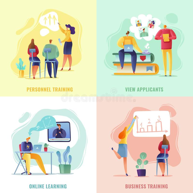 Employee search training concept mini scenes. business people hiring reviewing resumes training beginners employee vector illustration