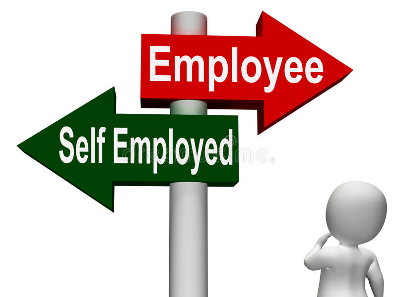 Employee Self Employed Signpost. Meaning Choose Career Job Choice vector illustration