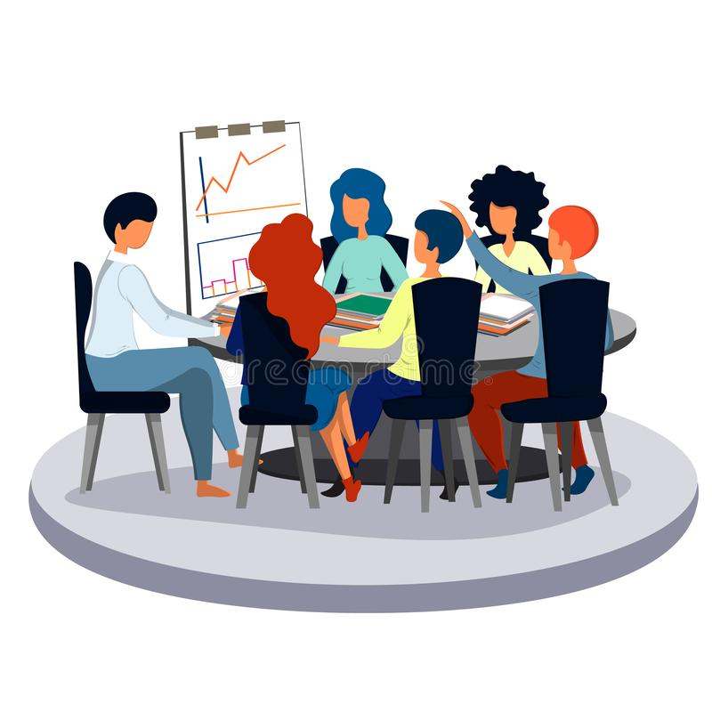 Employee speech to colleagues at a meeting in the office. Business and office. stock illustration