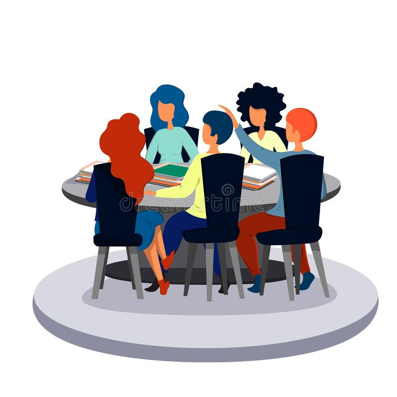 Employee speech to colleagues at a meeting in the office. Business and office. royalty free illustration