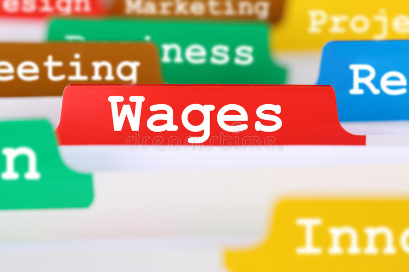 Employee wages financial business concept register in documents royalty free stock photos