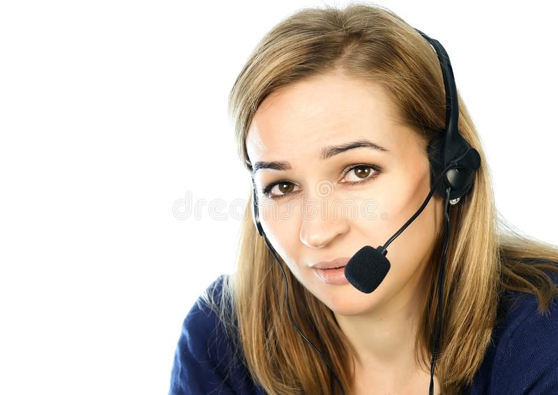 Employee working in a call center. Headset telemarketing woman talking on helpline.  royalty free stock image