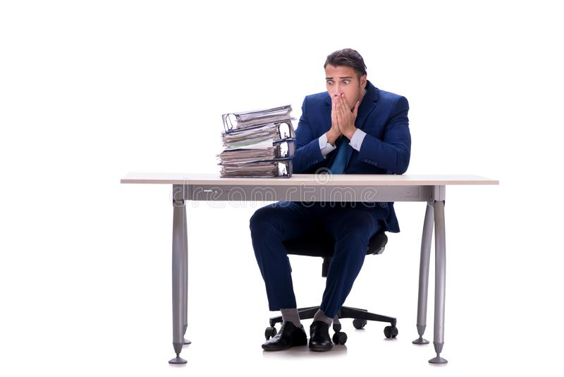 Employee working isolated on white background stock images