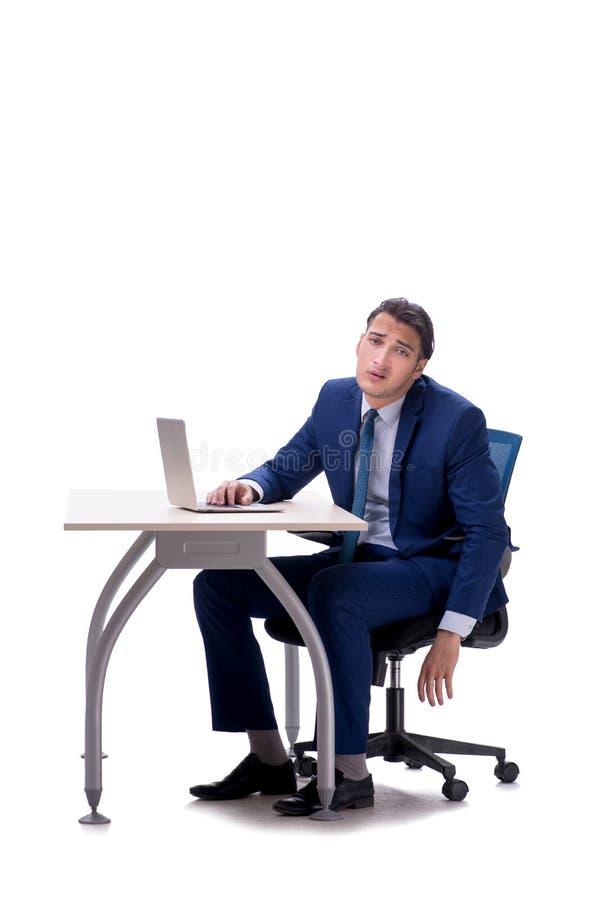 Employee working isolated on white background stock photos