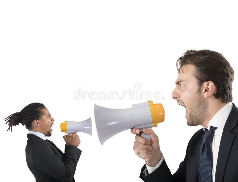 Employee yelling against boss royalty free stock image