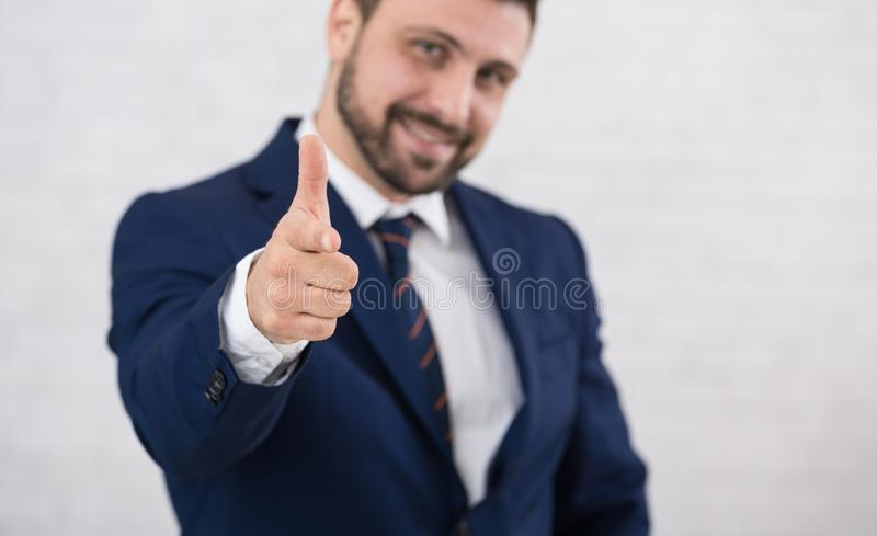 Employeer choosing you for job by pointing finger to camera stock images