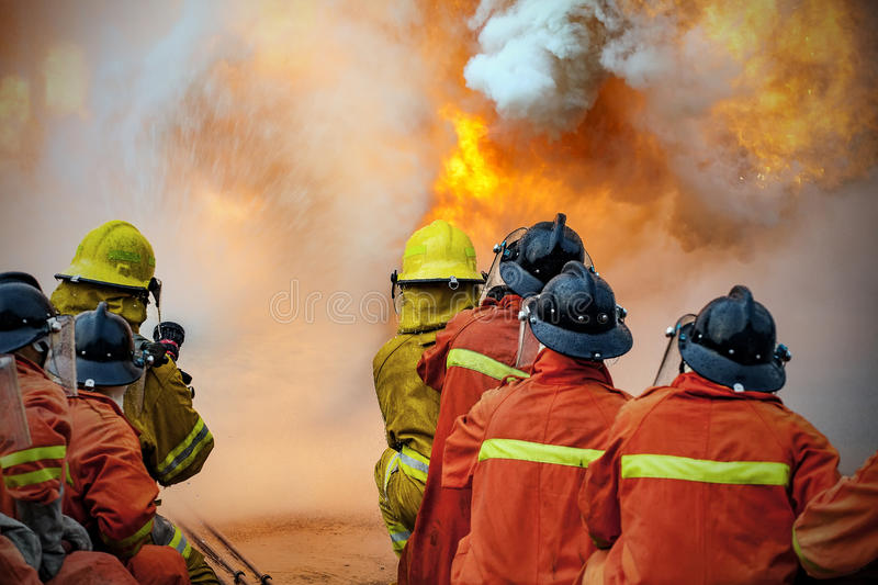 The Employees Annual training Fire fighting stock photography