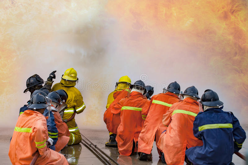 The Employees Annual training Fire fighting royalty free stock images