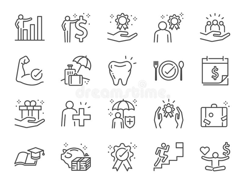 Employees benefits line icon set. Included icons as Teamwork, people relationship, Growth chart, staff perks, insurance and more. stock illustration