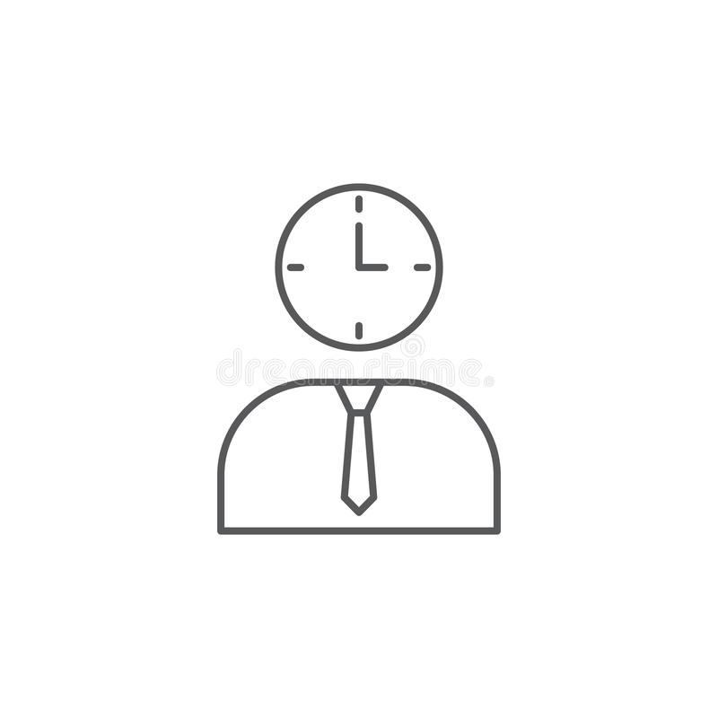 Employees and clock vector icon symbol isolated on white background. Eps10 vector illustration
