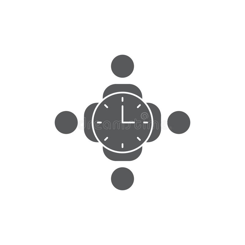 Employees and clock vector icon symbol isolated on white background. Eps10 royalty free illustration