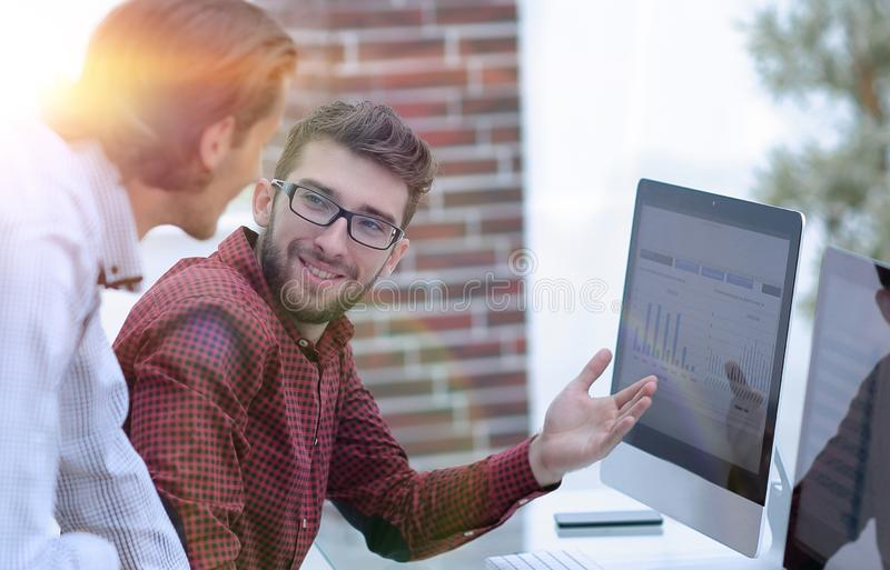 Employees of the company, discussing the statistics royalty free stock photography