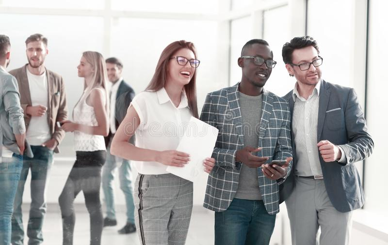 Employees of the company during a working break. royalty free stock image