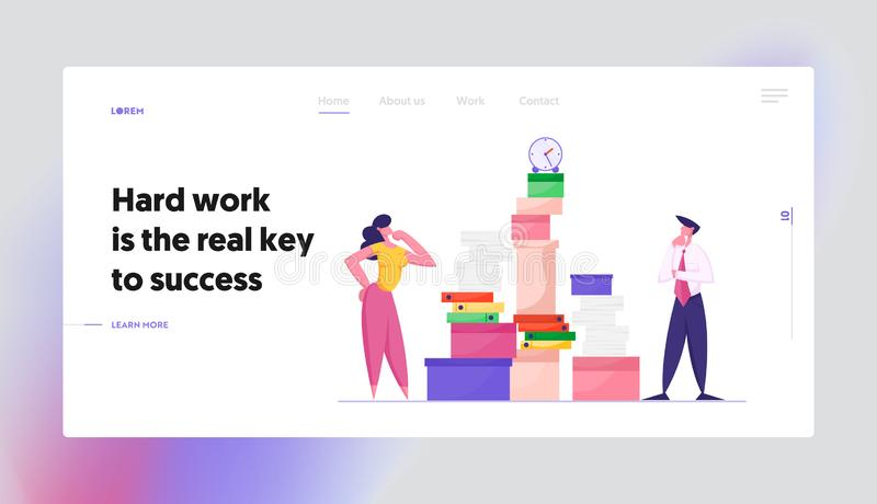 Employees Deadline Stress Website Landing Page. Businesswoman and Businessman Looking on Huge Pile of Paper. Documents and Folders with Clock on Top Web Page stock illustration