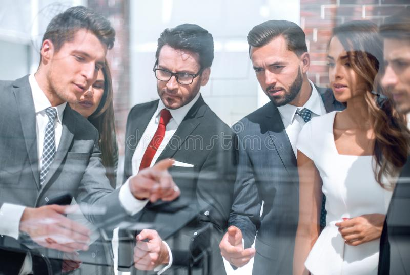 Employees discuss new ideas with the project Manager. Business concept royalty free stock photos