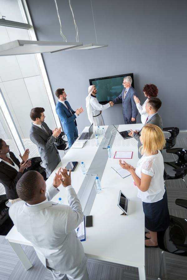 Employees great conclusion of deal stock photos