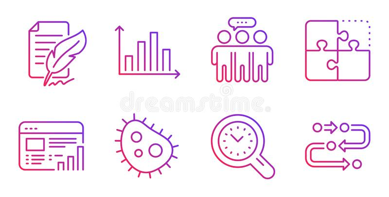 Employees group, Feather signature and Web report icons set. Time management, Puzzle and Bacteria signs. Vector. Employees group, Feather signature and Web vector illustration