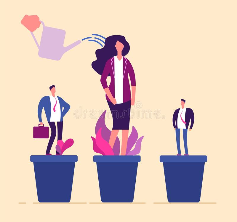 Employees growth. Business professional people in flowerpot development training growing management career human stock illustration