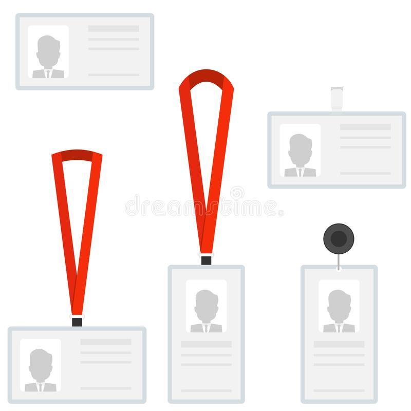 Employees identification card id badges. A set of identification cards. vector illustration