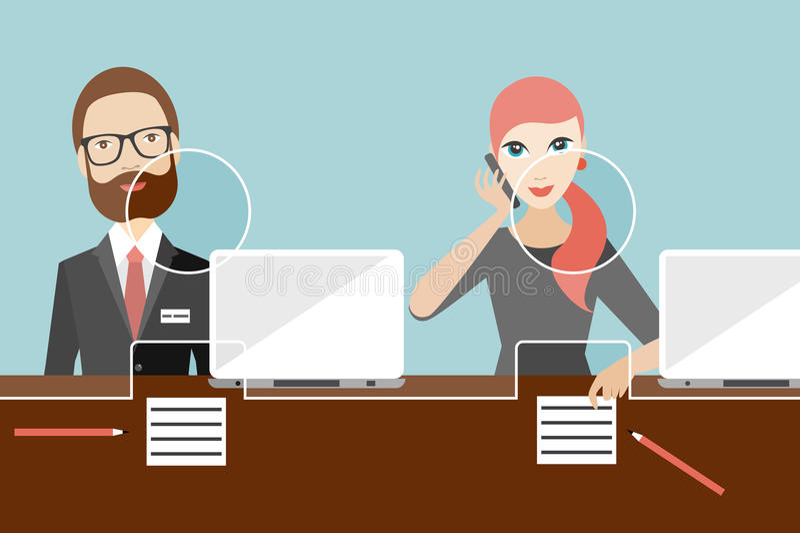Employees, jobholders clerk in a bank. Flat vector stock illustration