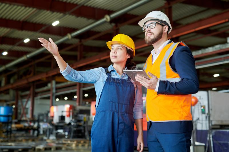 Employees at Modern Factory royalty free stock images