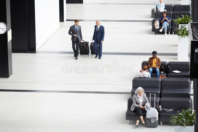 Employees moving to gates of departure area royalty free stock images