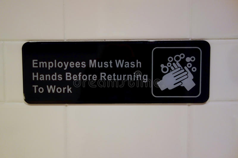 Employees Must Wash Hands royalty free stock image