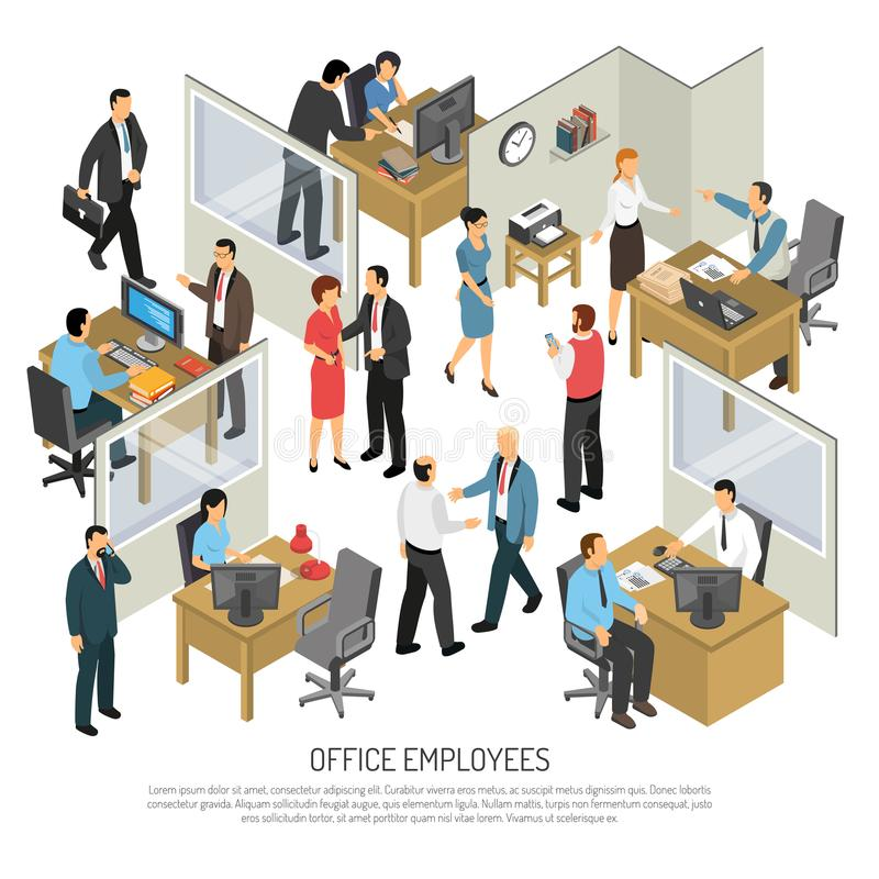 Employees In Office Design Concept. People in office interior isometric design concept with groups of creative employees participating in business process vector stock illustration