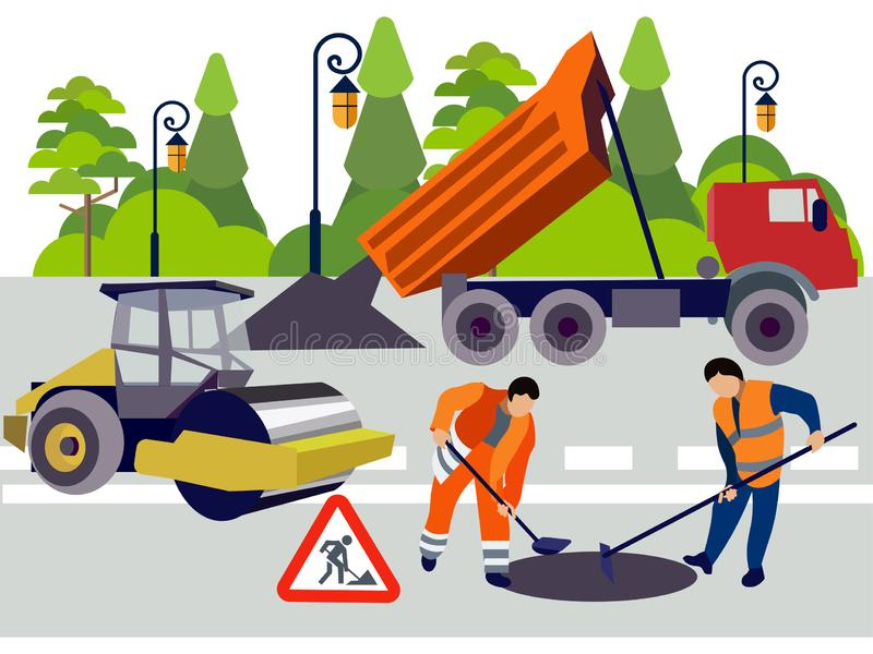 Employees of road works. Equipment and materials for repair. In minimalist style. Flat isometric vector royalty free illustration