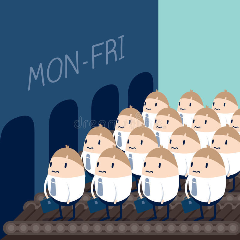 Employees routine. Unhappy employees on convey to thier office vector illustration