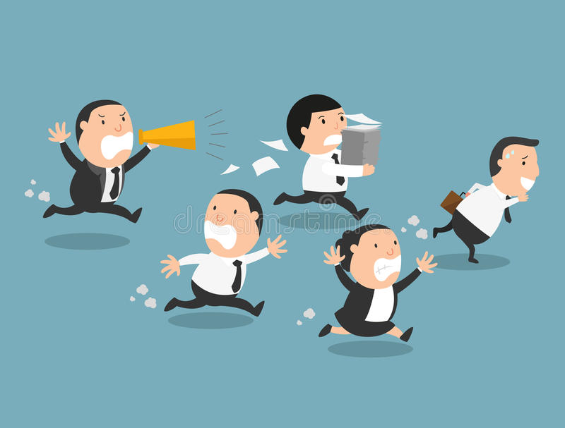 The employees running away from their bad boss. Illustration royalty free illustration