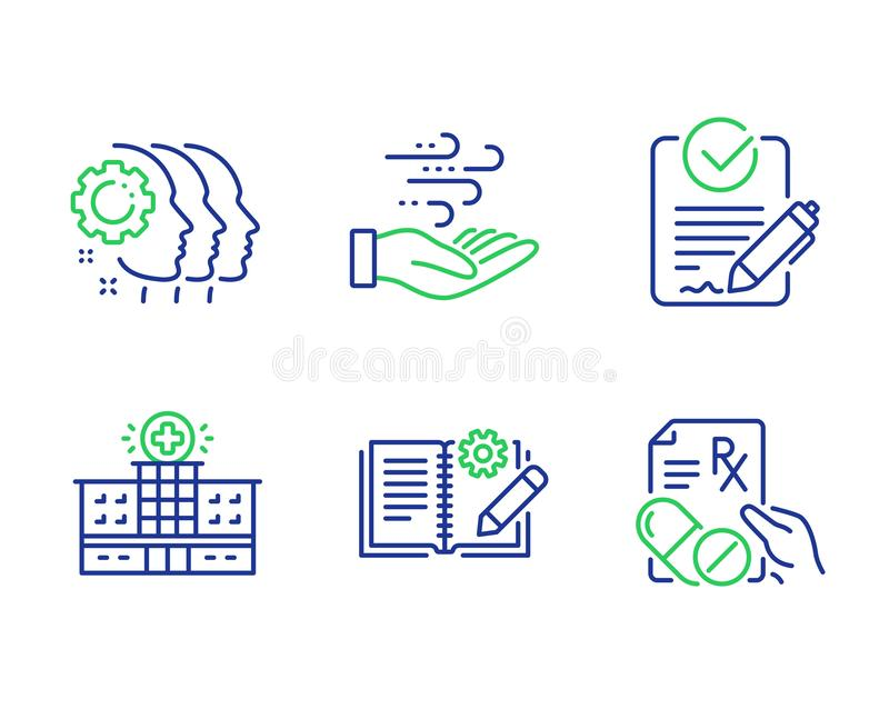 Employees teamwork, Hospital building and Rfp icons set. Vector. Employees teamwork, Hospital building and Rfp line icons set. Wind energy, Engineering stock illustration