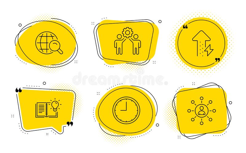 Employees teamwork, Time and Internet search icons set. Product knowledge, Energy growing and Networking signs. Vector. Product knowledge, Energy growing and stock illustration