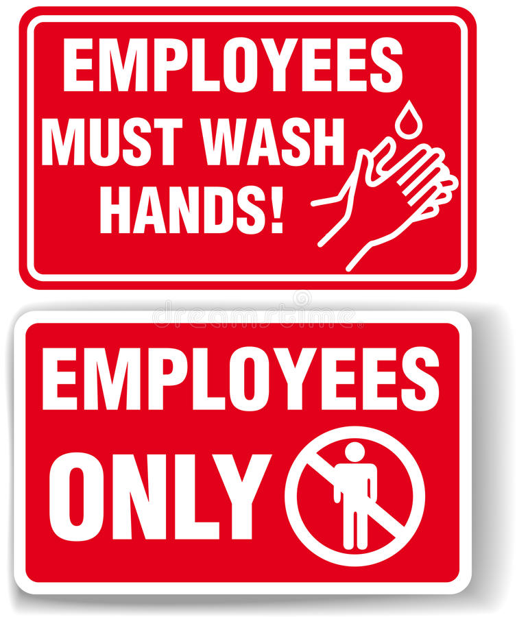 Download EMPLOYEES ONLY And WASH HANDS Signs Stock Image - Image: 21124441