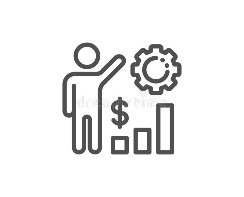 Employees wealth line icon. Work results sign. Money chart. Vector. Employees wealth line icon. Work results sign. Money chart symbol. Quality design element vector illustration