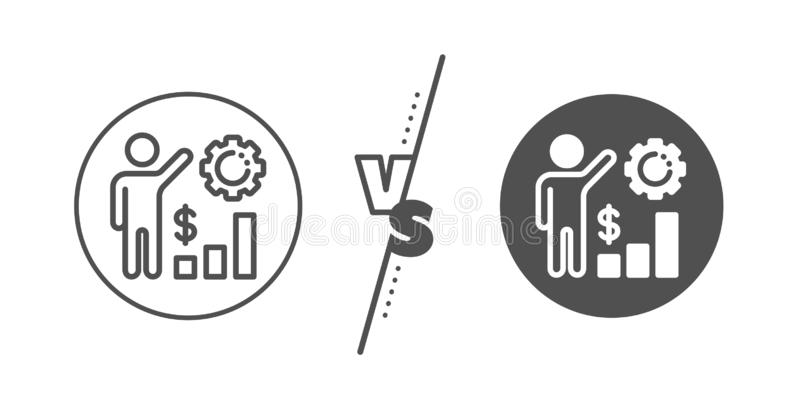 Employees wealth line icon. Work results sign. Money chart. Vector. Work results sign. Versus concept. Employees wealth line icon. Money chart symbol. Line vs royalty free illustration