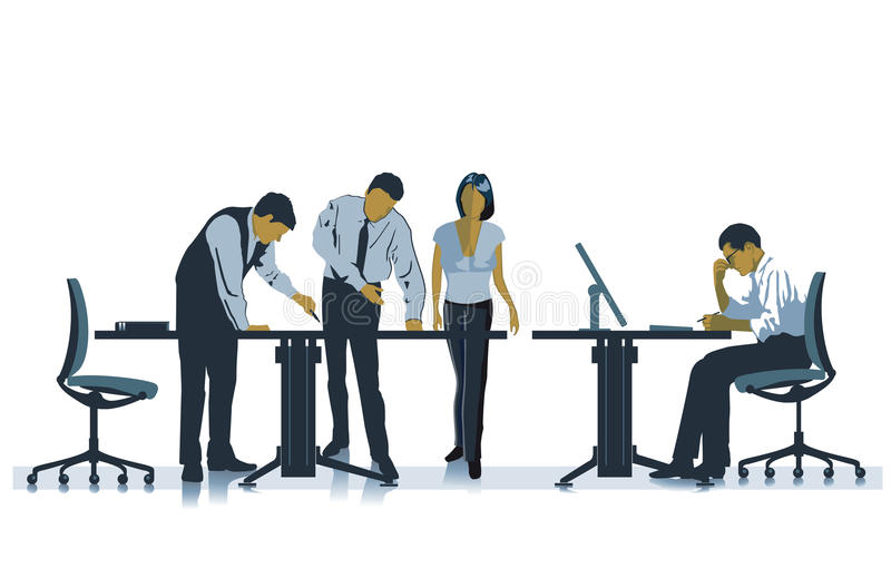 Employees Working Together. In an office vector illustration