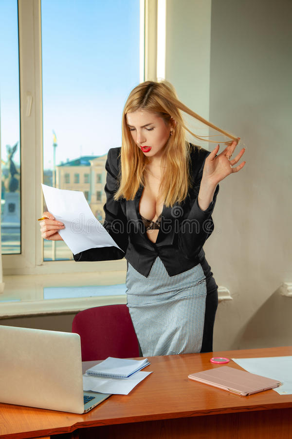 Chief Talking With Secretary Stock Image - Image of mature