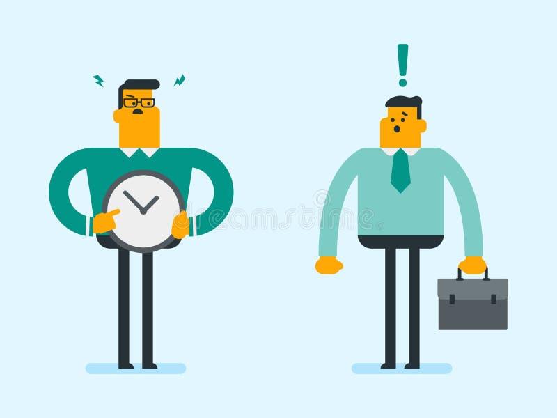 Employeur caucasien fâché indiquant le temps sur l'horloge illustration de vecteur