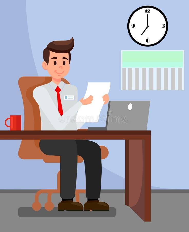 Employeur dans l'illustration de vecteur de bureau privé illustration de vecteur