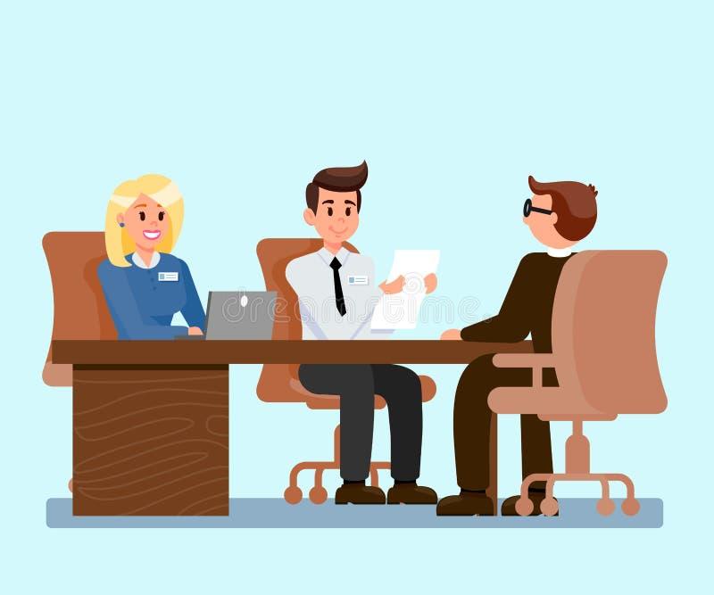 Employeurs interviewant l'illustration de demandeur illustration stock