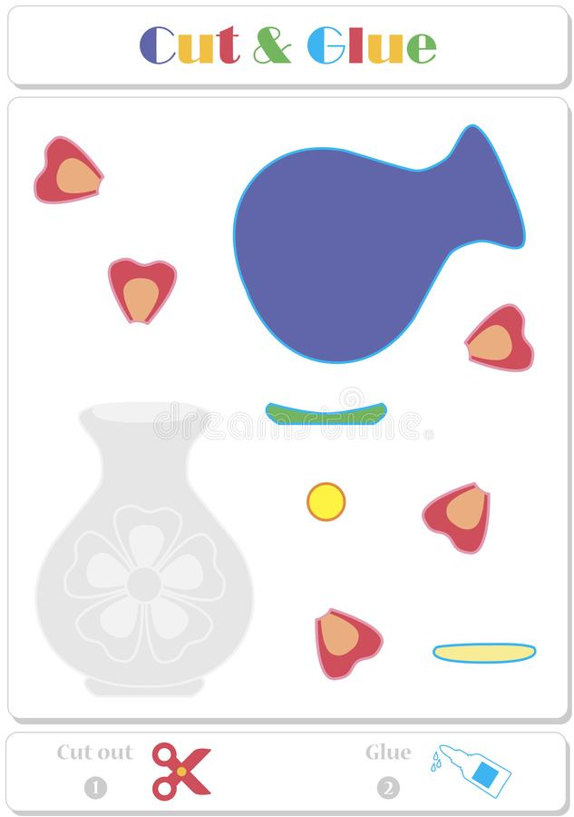 Employez les ciseaux et la photo de colle et d'autocollant pour l'échantillon Jeu de papier éducatif facile pour des enfants illustration de vecteur