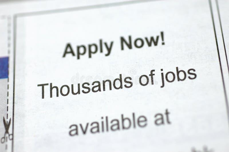 Employment ad on newspaper