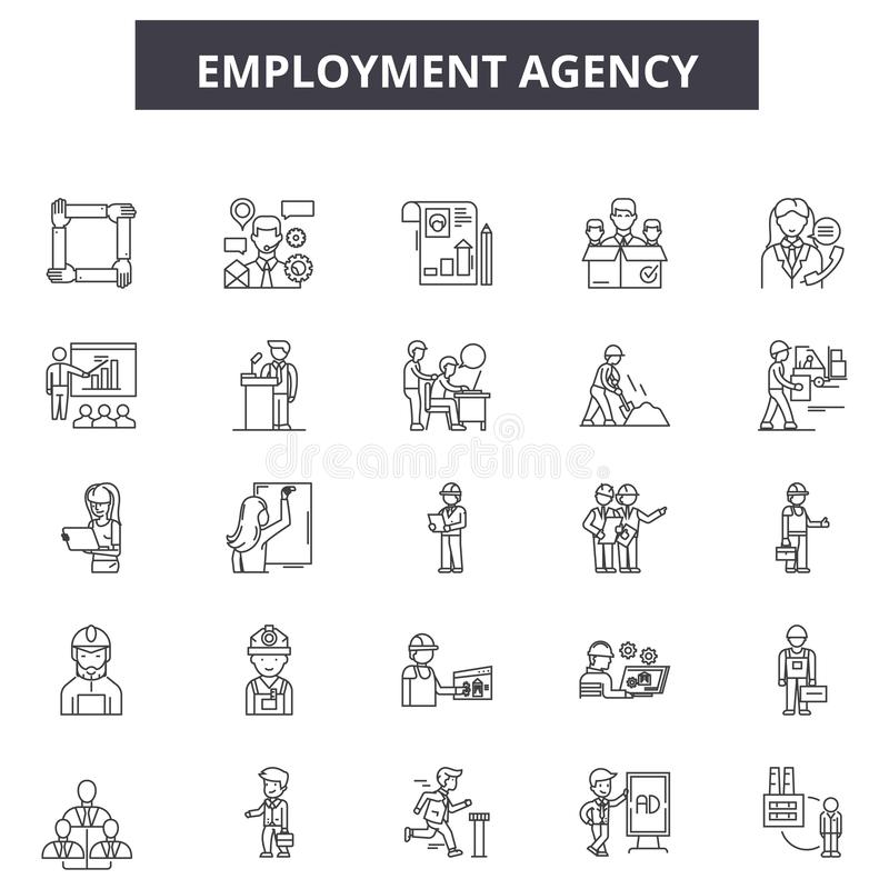 Employment agency line icons, signs, vector set, outline illustration concept. Employment agency line icons, signs, vector set, outline concept illustration vector illustration