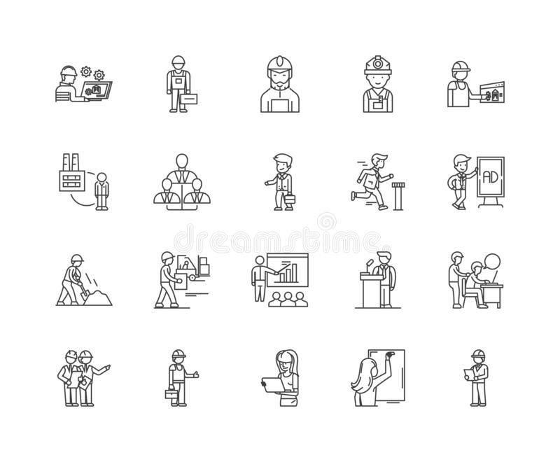 Employment agency line icons, signs, vector set, outline illustration concept. Employment agency line icons, linear signs, vector set, outline concept vector illustration