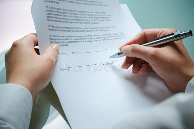 Download Employment agreement stock photo. Image of desk, issues - 15337732